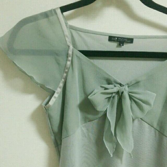 23区(ニジュウサンク)の23区*胸元シフォンリボンの異素材使いトップス レディースのトップス(カットソー(半袖/袖なし))の商品写真