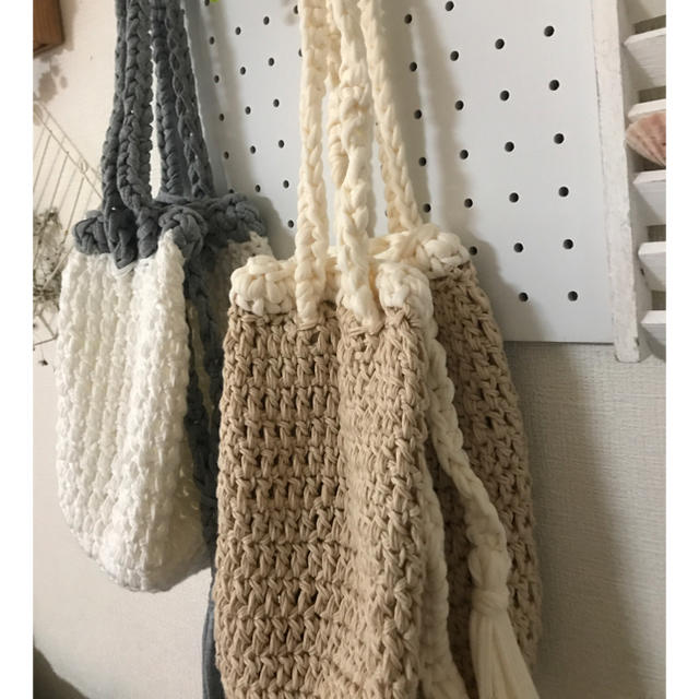 2way ショルダーバッグ 手さげバッグ コットン&ズパゲッティ ハンドメイドのファッション小物(バッグ)の商品写真