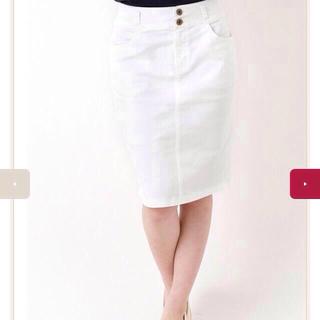 ハニーズ(HONEYS)のhoneys新品白デニムタイトスカート(ひざ丈スカート)