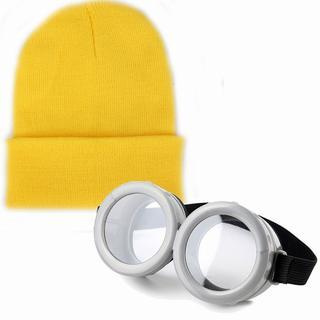 ミニオンズ コスプレ ゴーグル + ニットキャップ ニット帽 黄色(小道具)