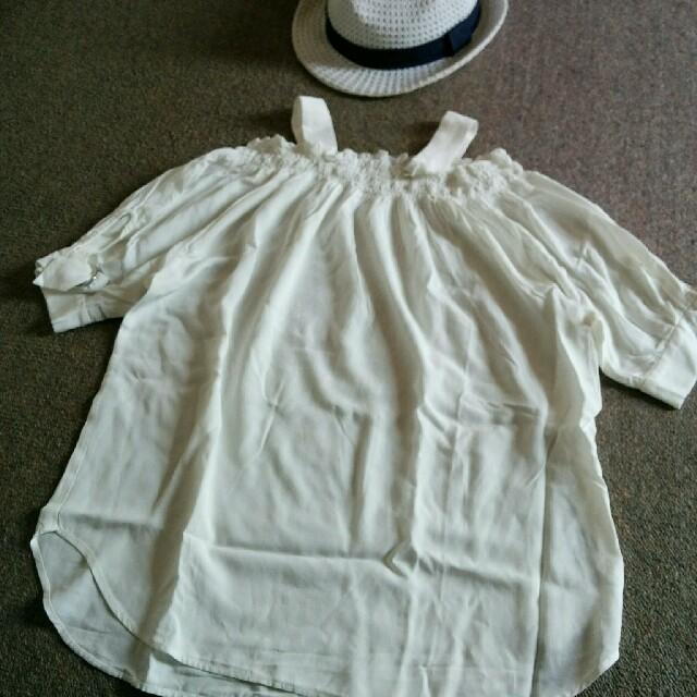 JEANASIS(ジーナシス)の新品 大人気 JEANASIS オフショルダートップス 肩だしブラウス F 白 レディースのトップス(シャツ/ブラウス(半袖/袖なし))の商品写真