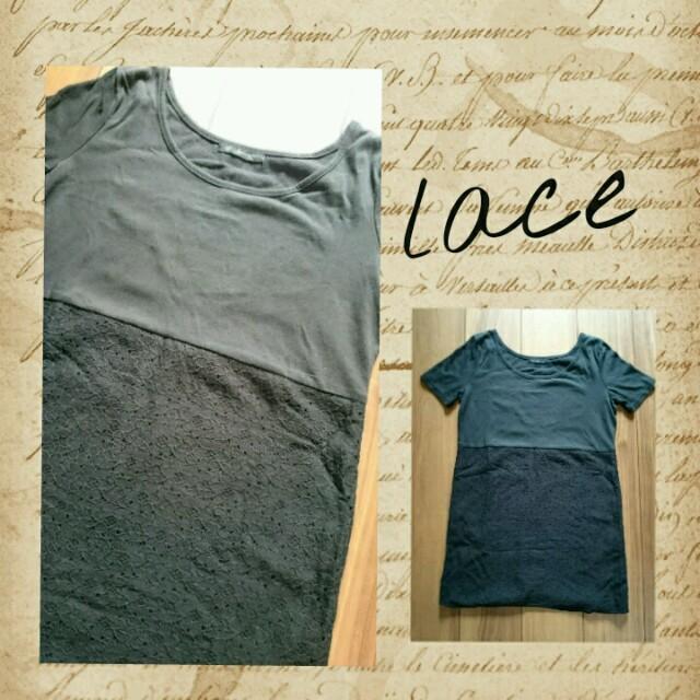 花柄レース切り替えロング丈Tシャツ黒チュニック レディースのトップス(Tシャツ(半袖/袖なし))の商品写真