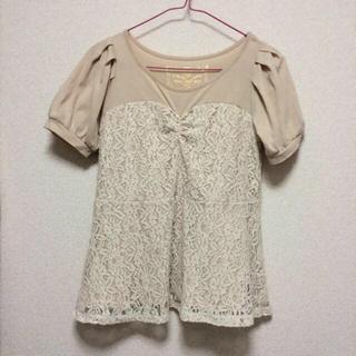 ミスティウーマン(mysty woman)のレース切り替えTシャツ(Tシャツ(半袖/袖なし))