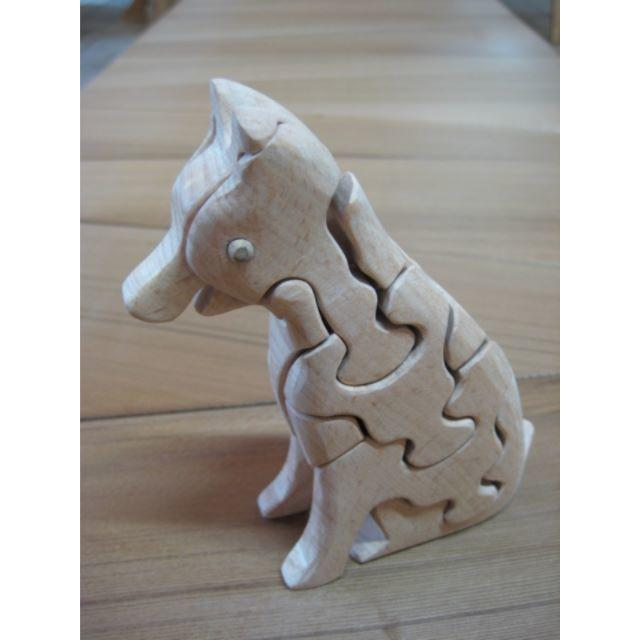 自然素材の玩具 立体3Dパズル④イヌ 1 (座)  キッズ/ベビー/マタニティのおもちゃ(知育玩具)の商品写真