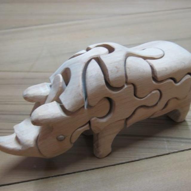 自然素材の玩具 立体3Dパズル⑥サイ  キッズ/ベビー/マタニティのおもちゃ(知育玩具)の商品写真