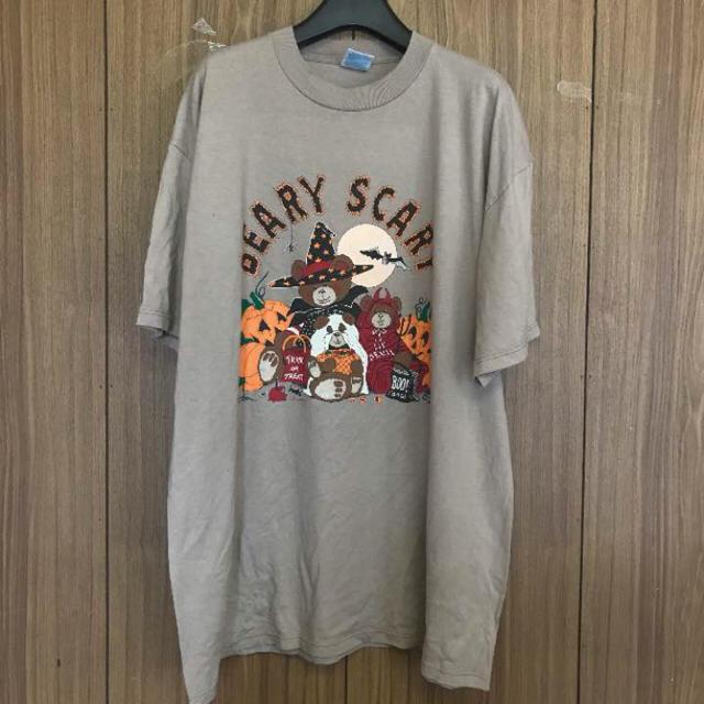 823 古着 プリント Tシャツ メンズ XL ベージュ ビッグシルエット メンズのトップス(Tシャツ/カットソー(半袖/袖なし))の商品写真