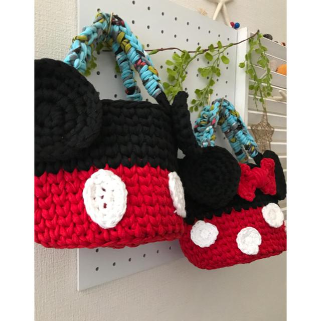 ミッキー ミニー風 マルシェバッグ ズパゲッティ  ハンドメイドのファッション小物(バッグ)の商品写真