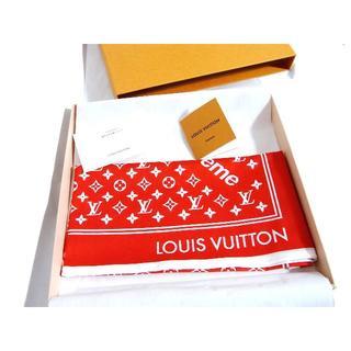 ルイヴィトン(LOUIS VUITTON)のシュプリーム x ルイヴィトン モノグラム バンダナ 赤 レッド 新品 17AW(バンダナ/スカーフ)