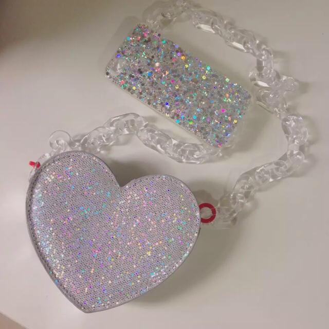 ♡レアデザイン!激かわいい!ラメ ハート シルバー ショルダーバッグ 新品 レディースのバッグ(ショルダーバッグ)の商品写真
