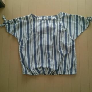 シマムラ(しまむら)のストライプ 袖リボントップス (カットソー(半袖/袖なし))