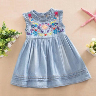 ザラ(ZARA)の今季大人気!刺繍×デニム ワンピース ブルー ベビー服 子供服(ワンピース)