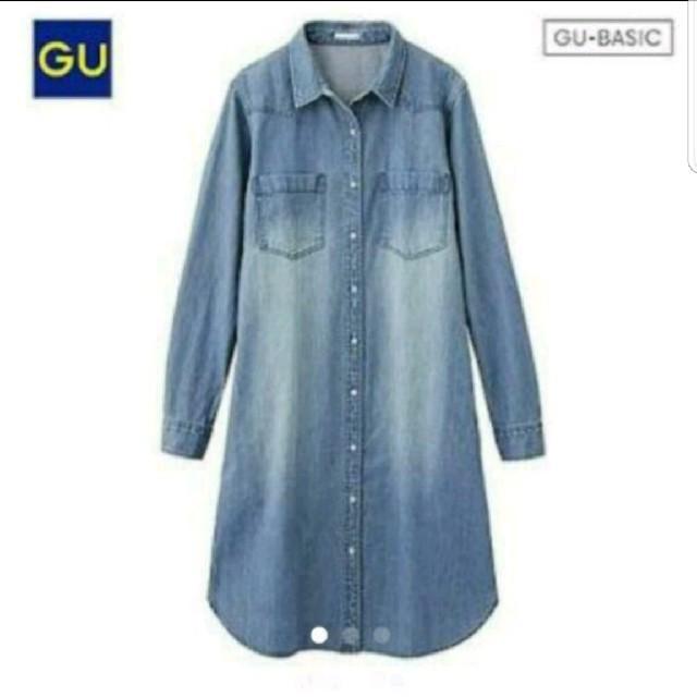 GU(ジーユー)のジーユー デニム ロングシャツ レディースのトップス(シャツ/ブラウス(半袖/袖なし))の商品写真