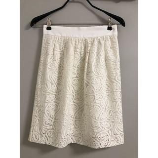 ノーブル(Noble)のNoble 白レーススカート(ひざ丈スカート)
