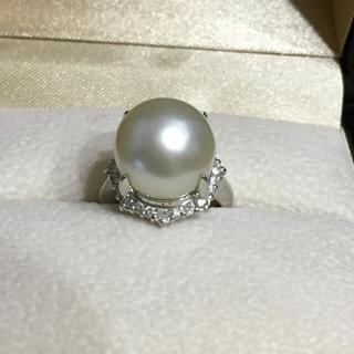 12ミリ珠Pt南洋真珠★ダイヤリング(リング(指輪))