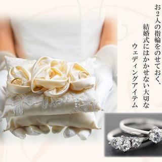 【新品、日本製】職人が作る本格リングピロー*ローズ2段 アイボリー(ウェディングドレス)
