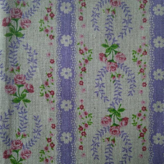 はぎれ【綿麻生地】バラ 薔薇/パープル系/110×50cm ハンドメイドの素材/材料(生地/糸)の商品写真