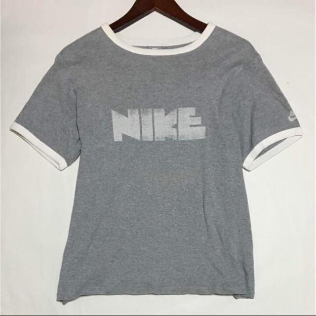 NIKE(ナイキ)のVintage 復刻 NIKE ゴツナイキ ビッグロゴ トリムTシャツ グレー白 メンズのトップス(Tシャツ/カットソー(半袖/袖なし))の商品写真