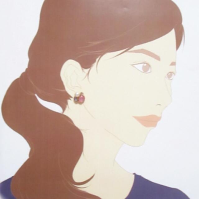 アクリルビジューとコットン風パールのピアス color:ピンク×ブルー ハンドメイドのアクセサリー(ピアス)の商品写真