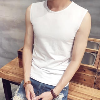 新品/メンズノースリーブ ホワイト(Tシャツ/カットソー(半袖/袖なし))