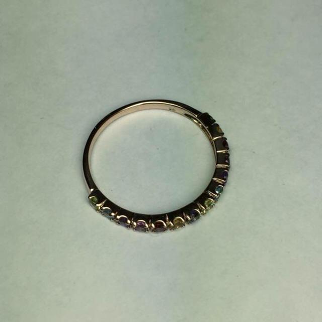 K10ピンクゴールド マルチカラーリング【サイズ12.5号】 レディースのアクセサリー(リング(指輪))の商品写真