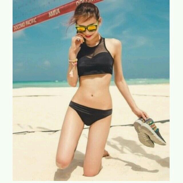 トレンド★かわいい シースルー ビキニ バンドゥ 体型カバー レディース黒 M レディースの水着/浴衣(水着)の商品写真