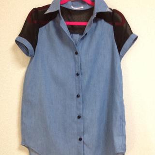 今が狙い目👀値下げ♥透けブルーシャツ(シャツ/ブラウス(半袖/袖なし))