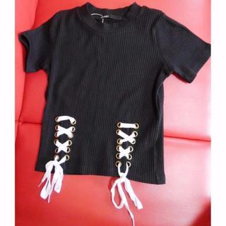 スピンズ(SPINNS)の新品 サイズ100 SPINNS/スピンズ ミリタリー風 編み上げ半袖カットソー(Tシャツ/カットソー)