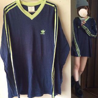 アディダス(adidas)のadidas◇メンズサイズライントップス(Tシャツ(長袖/七分))