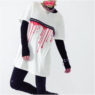 ファンキーフルーツ(FUNKY FRUIT)の【Drug honey】ブラッドプリントZIPデザインT(Tシャツ(半袖/袖なし))