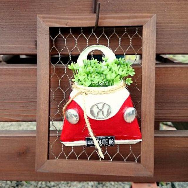 F347 newワーゲン缶メッシュ枠付きバックタイプ 赤 ハンドメイドのフラワー/ガーデン(その他)の商品写真