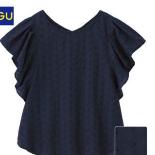 ジーユー(GU)のジーユー☺︎未使用  フリルスリーブ レース ブラウス(シャツ/ブラウス(半袖/袖なし))