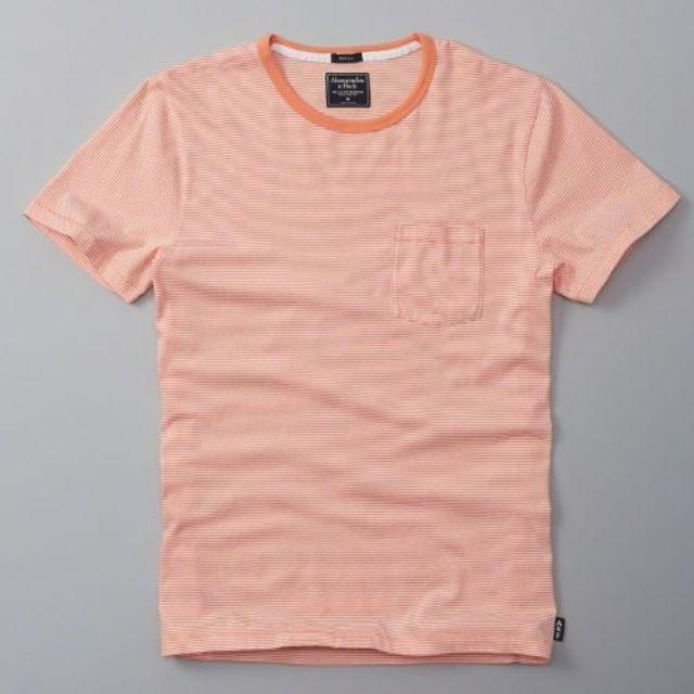 Abercrombie&Fitch(アバクロンビーアンドフィッチ)の【新品】アバクロ ボーダーポケットTシャツXS オレンジ メンズのトップス(Tシャツ/カットソー(半袖/袖なし))の商品写真