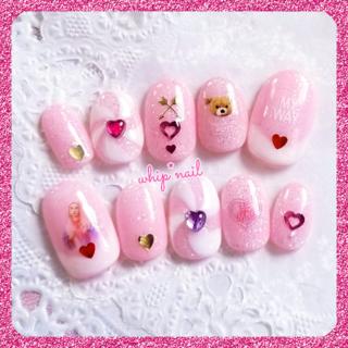 ♥シュガーピンク×ホワイト キャンディー:ネイルチップ♥