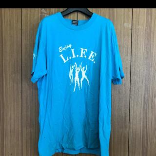 934 古着 プリント Tシャツ メンズ XLサイズ ブルー ビッグシルエット(Tシャツ/カットソー(半袖/袖なし))