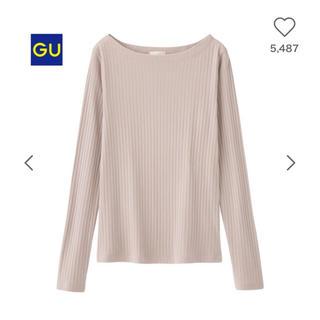 ジーユー(GU)のGU 完売品 リブT(長袖) ピンク色 Sサイズ(Tシャツ(長袖/七分))