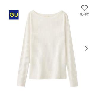 ジーユー(GU)のGU 完売品 リブT(長袖) 白 Sサイズ(Tシャツ(長袖/七分))