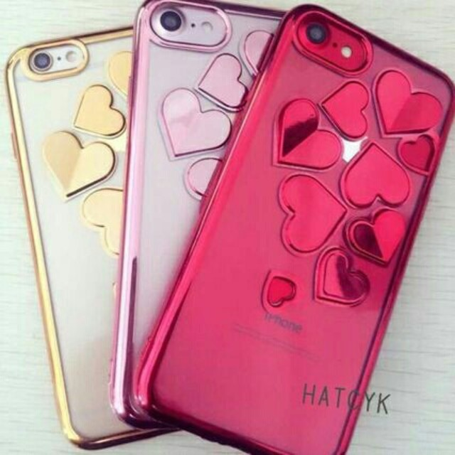 マリーさん専用☆メタリックハート iPhone7ケース ピンク 新品の ...