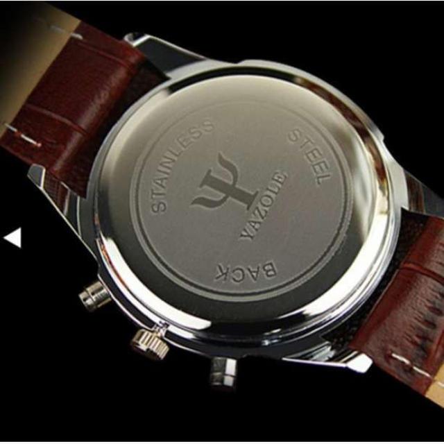 高品質【YAZOLE】腕時計 高級品質 メンズ 黒盤×ブラウンベルト メンズの時計(腕時計(アナログ))の商品写真