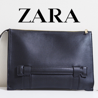 ザラ(ZARA)の【ZARA◆MEN】ザラ クラッチバッグ レザー 革 ゴールド 内ポケット(その他)