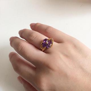 K18 金 アメジスト 1.6ct 指輪 リング 2月誕生石 宝石 12号(リング(指輪))