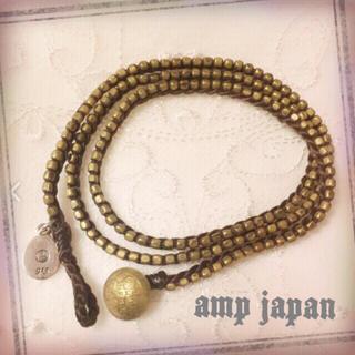 ampjapan アンプジャパン 三連 ラップ ブレスレット ブラウン 美品