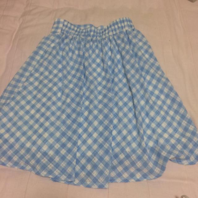 37067428c4e8f HONEYS(ハニーズ)の水色ギンガムチェック ひざ丈スカート フレアスカート レディースのスカート