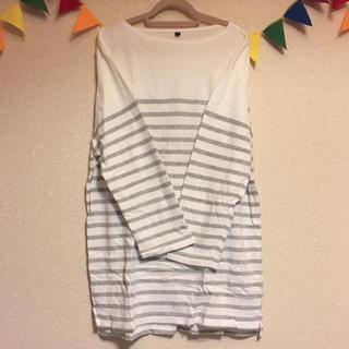 ムジルシリョウヒン(MUJI (無印良品))の無印良品 ボーダー七分Tシャツ グレー(Tシャツ/カットソー(七分/長袖))