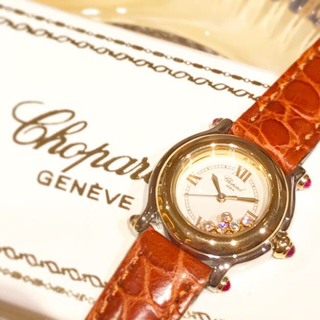 ショパール(Chopard)の美品✨ショパール chopard 18kgコンビ ハッピースポーツ 5Pダイヤ (腕時計)