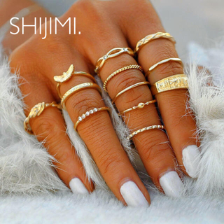 ザラ(ZARA)の【インポート⌘指輪セット】シンプル 12個 リング お洒落 ゴールド(リング(指輪))