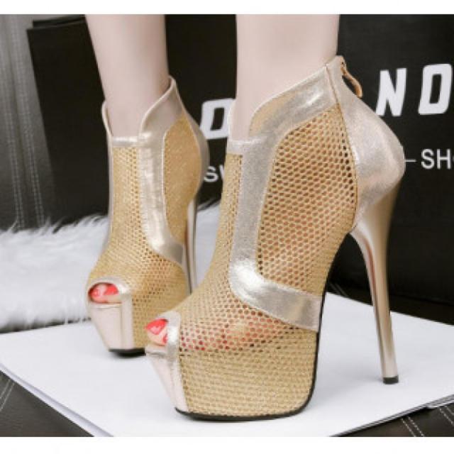 【新作】シースルー ハイヒール パンプス 高級感 ゴールド レディースの靴/シューズ(ハイヒール/パンプス)の商品写真
