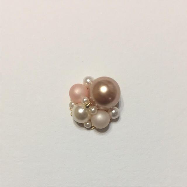 ♡ピンクビーズとピンクブラウンパールのピアス/イヤリング♡ ハンドメイドのアクセサリー(ピアス)の商品写真