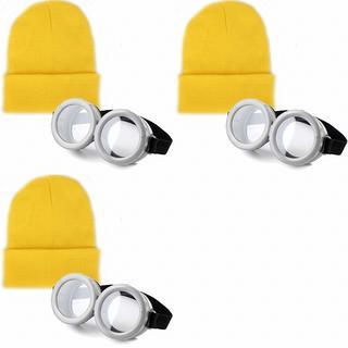 ◆☆2セット☆ミニオンズ コスプレ ゴーグル+ニットキャップ ニット帽 黄色(小道具)