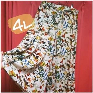 新品❤今季*4L☆とろみ素材❤リゾート花柄☆ウエストリボンのガウチョパンツ(カジュアルパンツ)