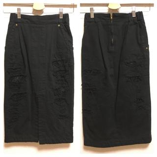 マメ(mame)の【人気!】☆40%off☆mameのブラックデニムスカート(ひざ丈スカート)